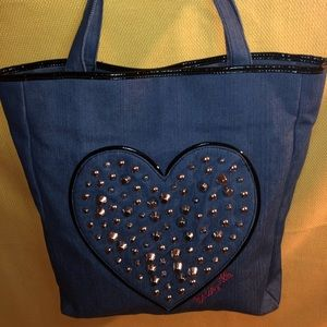 New Betseyville denim heart leather bag.